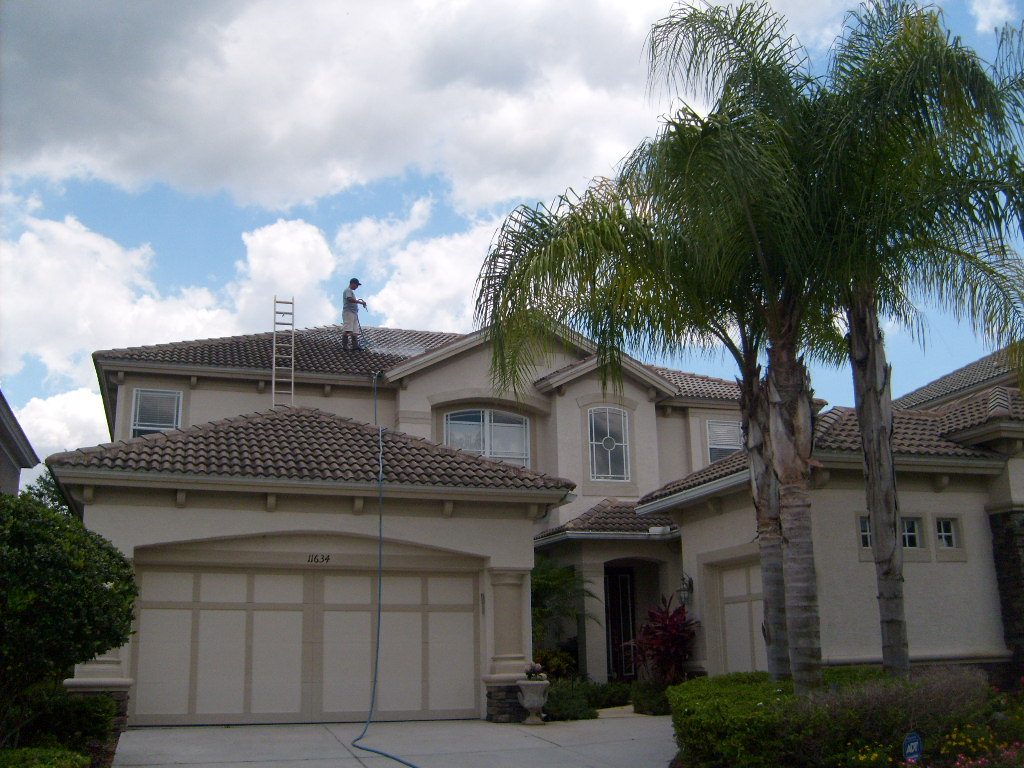 Non Pressure Tile Roof Cleaning Tampa We Did A Year Ago. This Home Is In  Misty Creek In New Tampa. It Was A Two Story Barrel Tile Roof Cleaning.