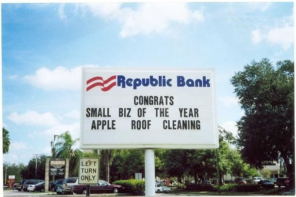 Award we won for the roof cleaning we do here in tampa